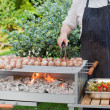 Sizzling barbecue sticks with meat and vegetables on grill — Stock Photo