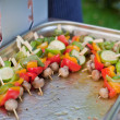 Stock Photo: Sizzling barbecue sticks healthy vegetables