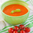 Stock Photo: Fresh cream tomato soup with organic garlic and tomatoes