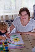 Giovane madre e 2 anni figlio di vecchio disegno — Foto Stock