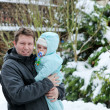 Young father and baby on cold winter day — Stock Photo