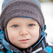 Portrait of adorable little toddler in winter — Stock Photo