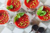 Fresh home made strawberry yoghurt dessert — Stock Photo
