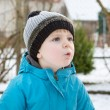 Cute toddler boy on beautiful winter day — Stock Photo