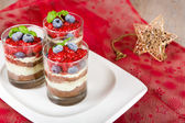 Sweet dessert tiramisu with strawberry — Stock Photo