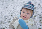 Adorable toddler boy on beautiful winter day — Stock Photo