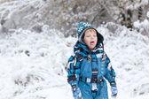 Adorable toddler boy having fun with snow — Stock Photo