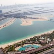 Jumeirah Palm island in Dubai with skyscrappers — Stock Photo