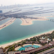 Stock Photo: Jumeirah Palm island in Dubai with skyscrappers