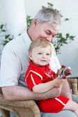 Grandfather with little baby boy — Stock Photo