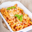 Stock Photo: Italipastwith meat sauce and parmescheese