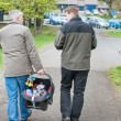 Grandfather and Father walking with little baby son — Stock Photo #18764853
