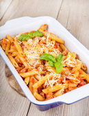 Italian pasta with meat sauce and parmesan cheese — Stock Photo