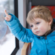 Cute little boy looking out train window — Stock Photo #19073639