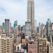 Stock Photo: new york city manhattan midtown aerial panorama view with skyscrapers and blue sky in the day