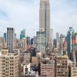 Stock Photo: New York City Manhattmidtown aerial panoramview with skyscrapers and blue sky in day