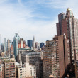 New York City Manhattan midtown aerial panorama view with skyscrapers and blue sky in the day — Stock Photo #19122509