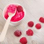 jogurtovou smetanové ledu s celé maliny — Stock fotografie