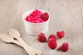 Frozen yogurt cremoso ghiaccio con lamponi interi — Foto Stock