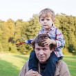 Young father and toddler walking in summer landscape — Stock Photo #19465813