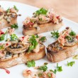 Crostini with mushrooms, apples and herbs — Stock Photo