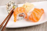 Variation of fresh tasty sushi rolls — Stock Photo