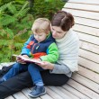 Stock Photo: Young mother and toddler reading book outdoor