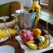 Stock Photo: Fruit and champagne composition