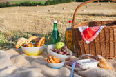 Picnic basket and different food and drinks on straw field — Stock Photo