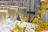 Glasses with champagne and orange juice on wedding — Stock Photo