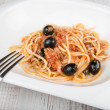 Stock Photo: Spaghetti lputtanescwith caper and olives