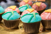 Fresh baked blue and pink cupcakes — Stockfoto