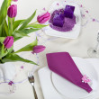 Table set decoration in purple — Stock Photo #22215215