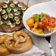 Stock Photo: Different antipasti salad and appetizer