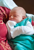 Newborn baby boy only few hours old — Stock Photo