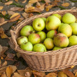 Crop of green apples in basket — Stock Photo