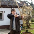 Young archer training with the bow  — 图库照片