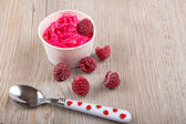 Frozen creamy ice yoghurt with whole raspberries — Stock Photo