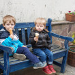 Stock Photo: Two little sibling boys eating ice cream