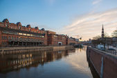 Sunset in Hamburg, German city. Speicherstadt district — Stock Photo