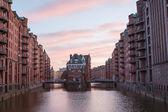 Historic Speicherstadt (houses and bridges) — Stock fotografie