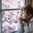 Adorable toddler boy looking out of the window — Stok fotoğraf