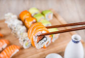 Variation of fresh tasty sushi rolls — Stockfoto