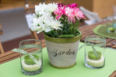 Decoration of summer garden table — Stock Photo