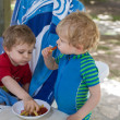 Two little boys eating french fries in summer — Stock Photo