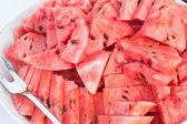 Färska naturliga mogen röd watermelone — Stockfoto