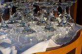 Wine glasses on a table in a restaurant — Stock Photo