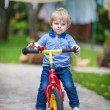 Stock Photo: 2 years old toddler riding on his first bike