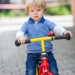 2 years old toddler riding on his first bike  — Stock Photo