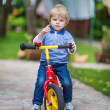 2 years old toddler riding on his first bike — Stock Photo #28320113